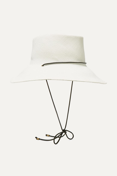 CLYDE | CLYDE - Gambler Rope-Trimmed Straw Hat - Off-White | Goxip