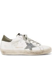 Superstar distressed glitter-trimmed leather sneakers