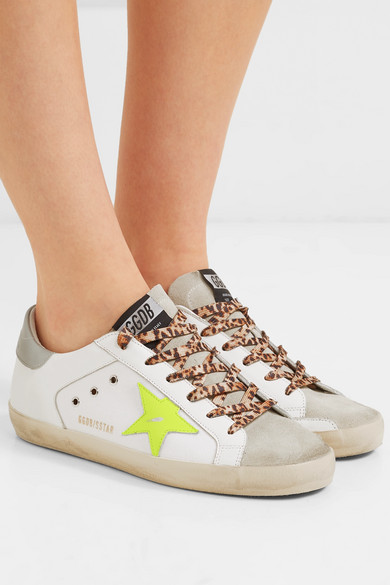 966077a816ec Golden Goose   Superstar distressed neon-trimmed leather, suede and ...