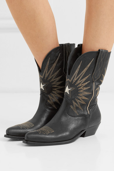 32e408faf882 Golden Goose. Wish Star Low embroidered textured-leather boots