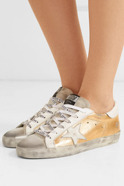 Superstar distressed metallic textured-leather and suede sneakers