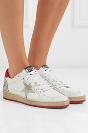 Ball Star distressed glittered leather sneakers