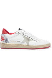 Golden Goose Ball Star distressed glittered leather sneakers