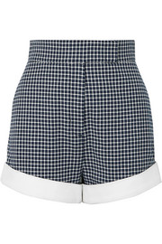Sara Battaglia Checked cotton-blend tweed shorts