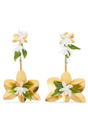 Orchid gold-tone and resin earrings