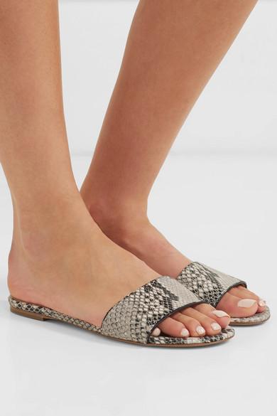 Gabriela Hearst – Franzine Snake-effect Leather Slides – Light gray