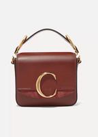 Chloé Chloé C mini suede-trimmed leather shoulder bag e5cfc20e3e