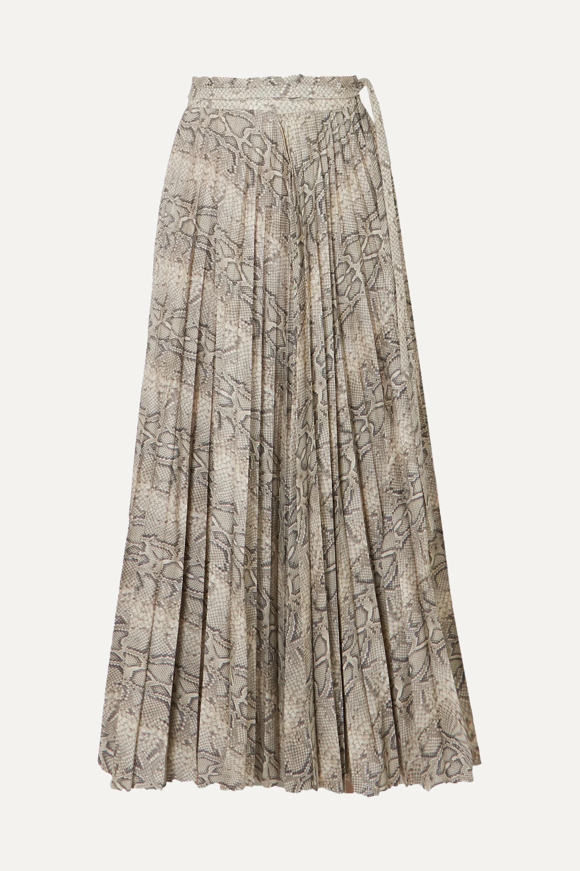 A.W.A.K.E. MODE Stephanie 褶裥蛇纹纯棉中长半身裙