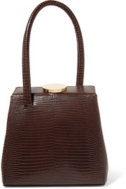 Mademoiselle lizard-effect leather tote