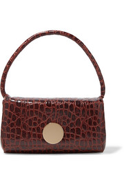 Baguette croc-effect leather shoulder bag