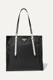 Prada Vela leather-trimmed shell tote