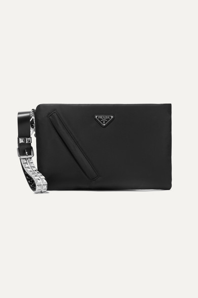 0bbc426cc471 Prada Vela Studded Leather-Trimmed Shell Clutch In Black | ModeSens