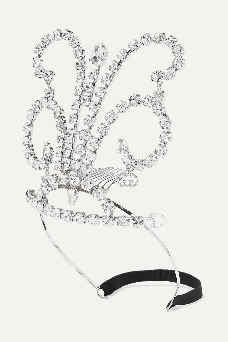 Gucci Palladiumfarbener Haarreif mit Kristallen
