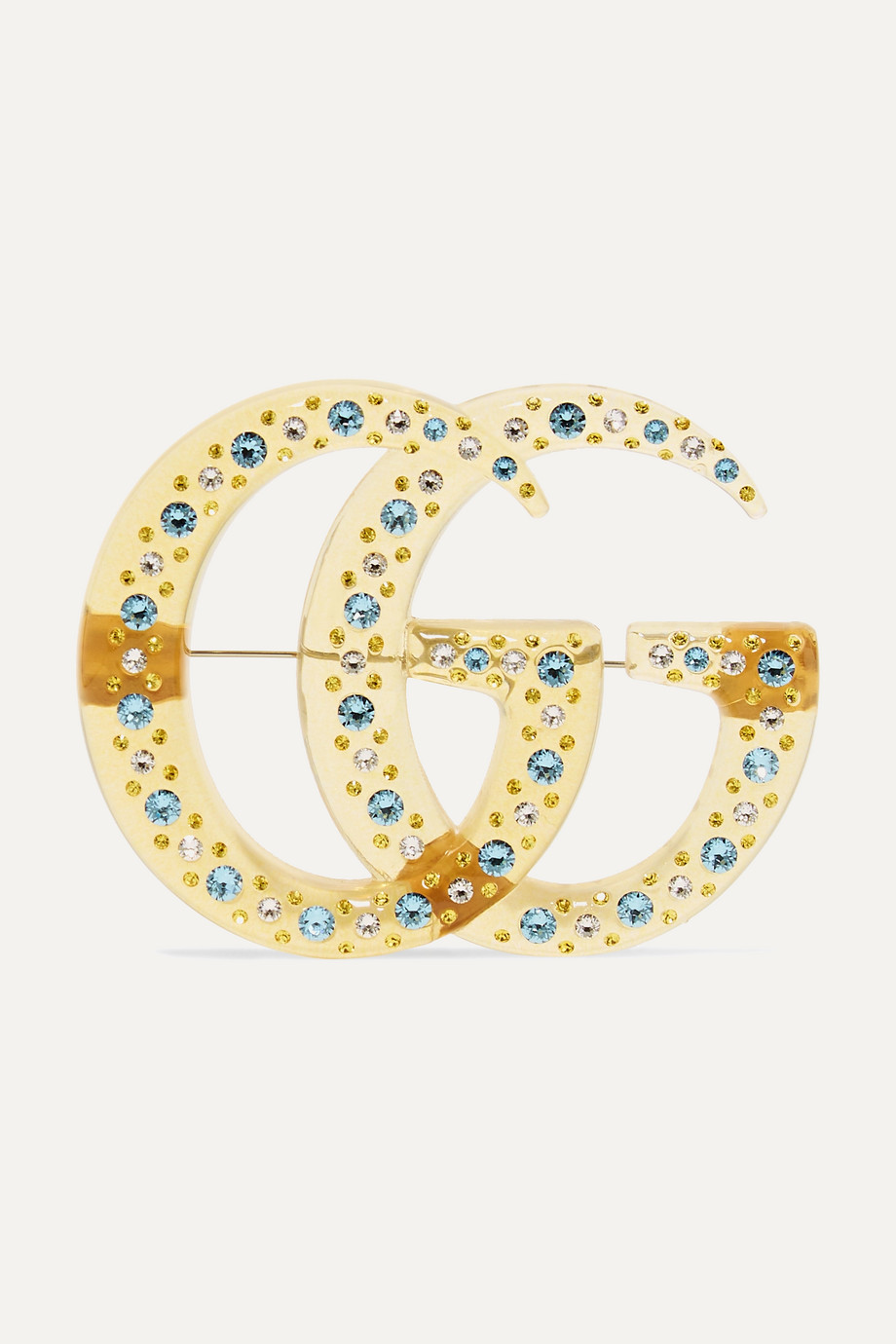 Gucci Gold-tone, resin and crystal brooch