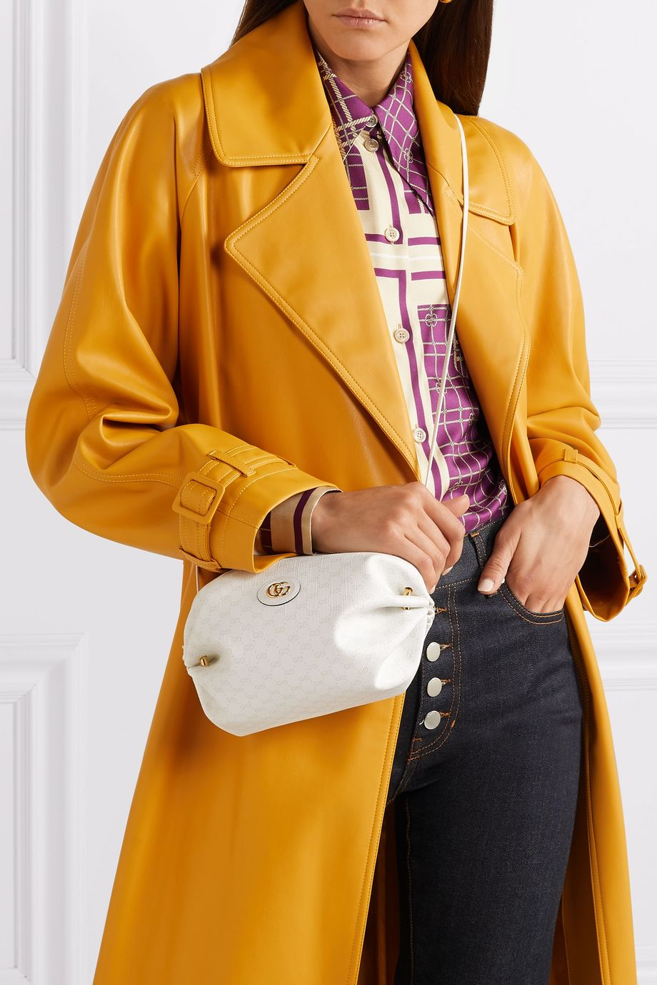 Gucci Candy leather-trimmed coated-canvas shoulder bag
