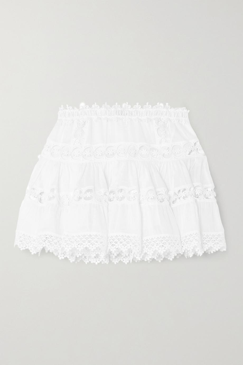 Charo Ruiz Greta crocheted lace-paneled cotton-blend mini skirt