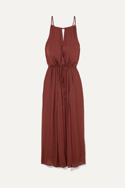 Nula belted crepe maxi dress