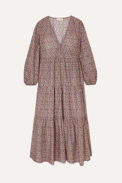 Matteau Dresses TIERED FLORAL-PRINT COTTON-POPLIN DRESS
