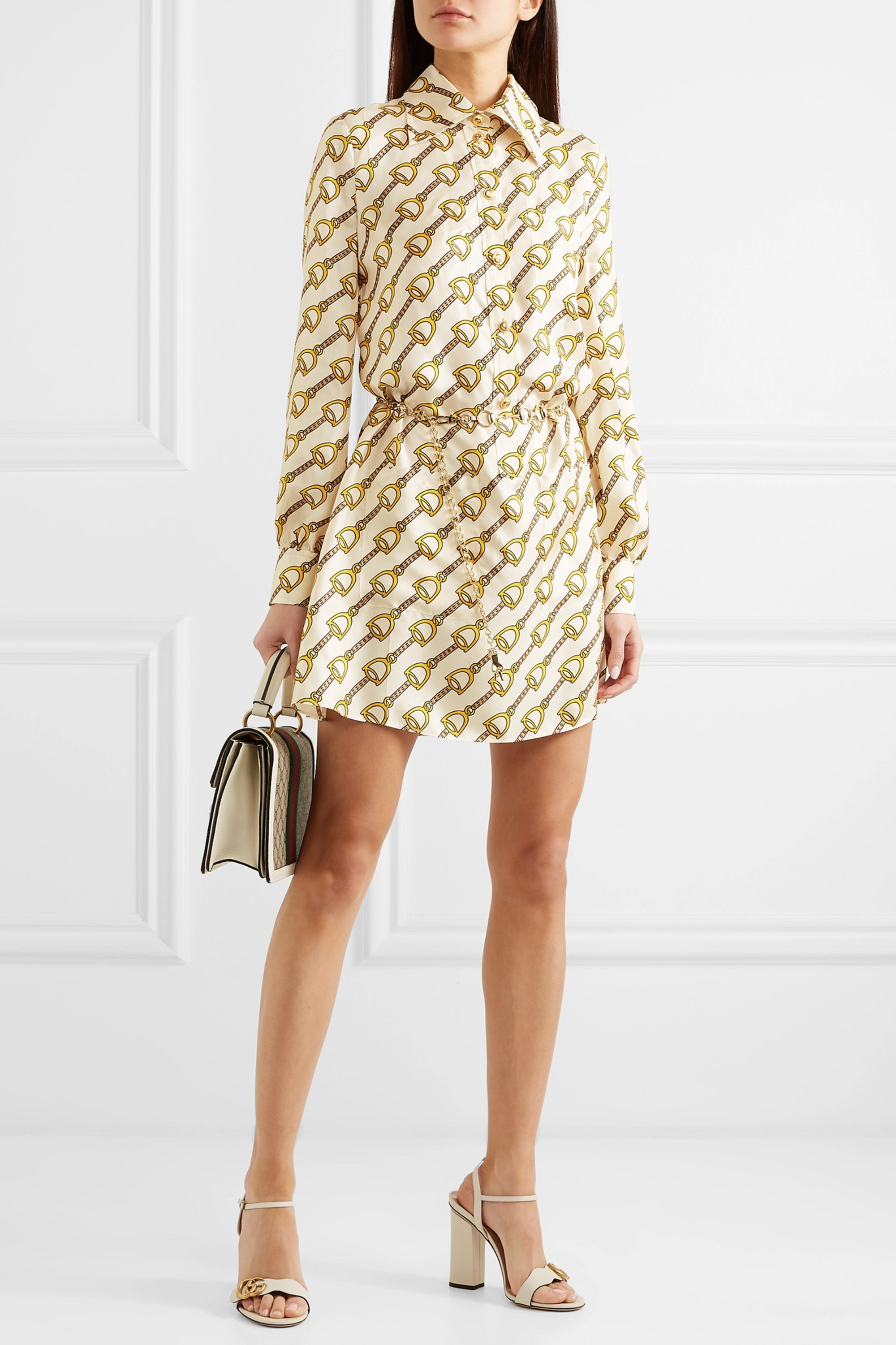 Gucci Printed silk-twill mini dress