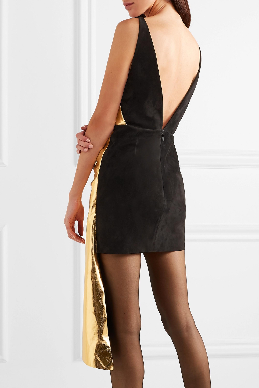 Gucci Asymmetric suede and metallic leather mini dress