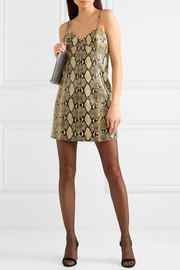 Snake-effect leather mini dress