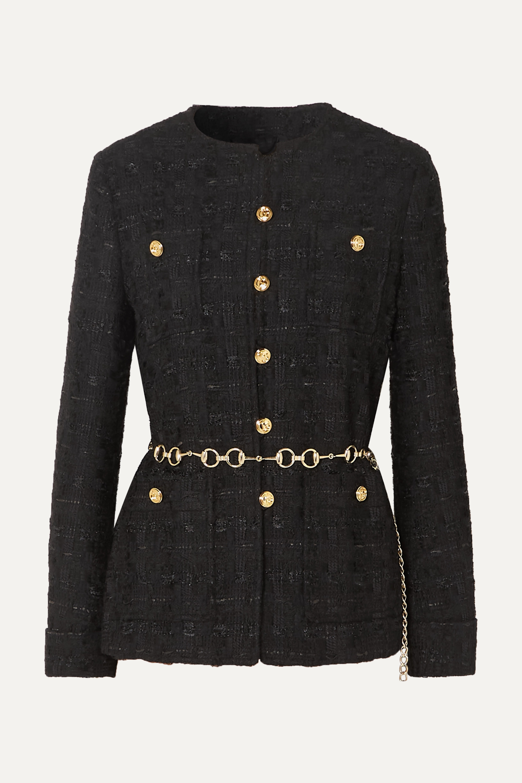 Gucci Belted button-embellished tweed jacket