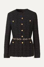 10cd553e59a Gucci Belted button-embellished tweed jacket