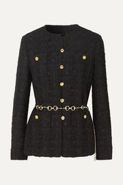 Belted button-embellished tweed jacket