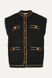 Oversized button-embellished tweed vest