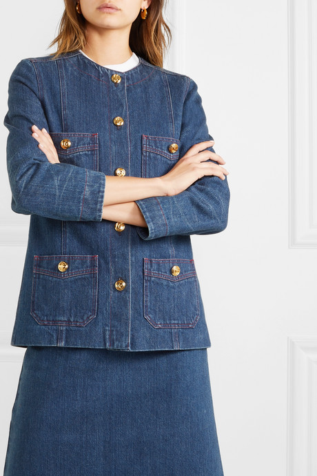 Button-embellished denim jacket