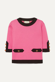 Gucci Two-tone silk and cotton-blend top