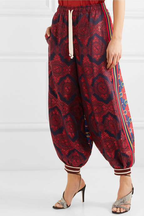 Floral-jacquard and printed silk-twill pants