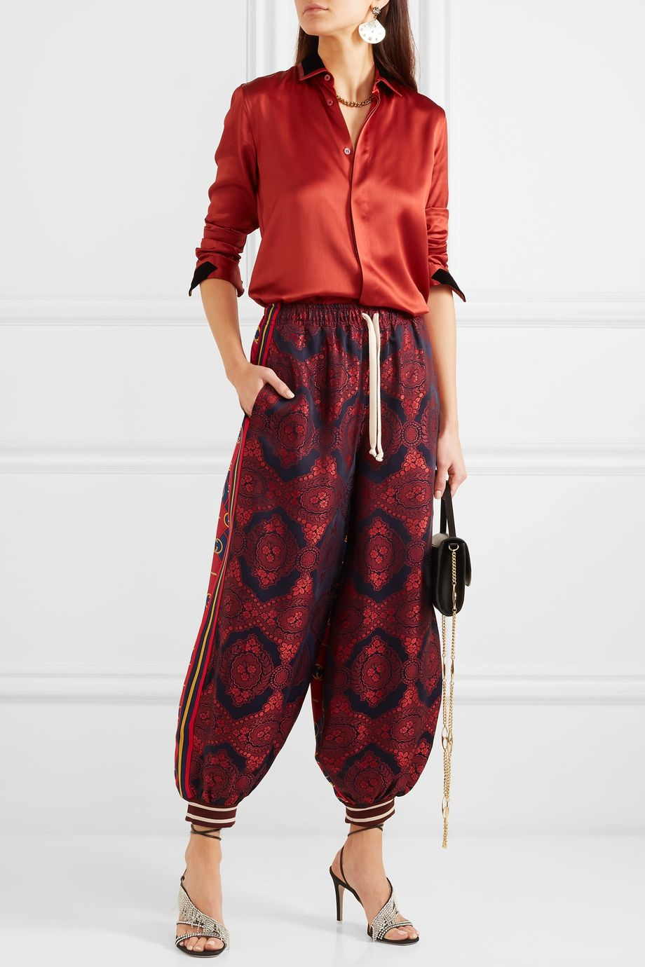 Gucci Floral-jacquard and printed silk-twill pants