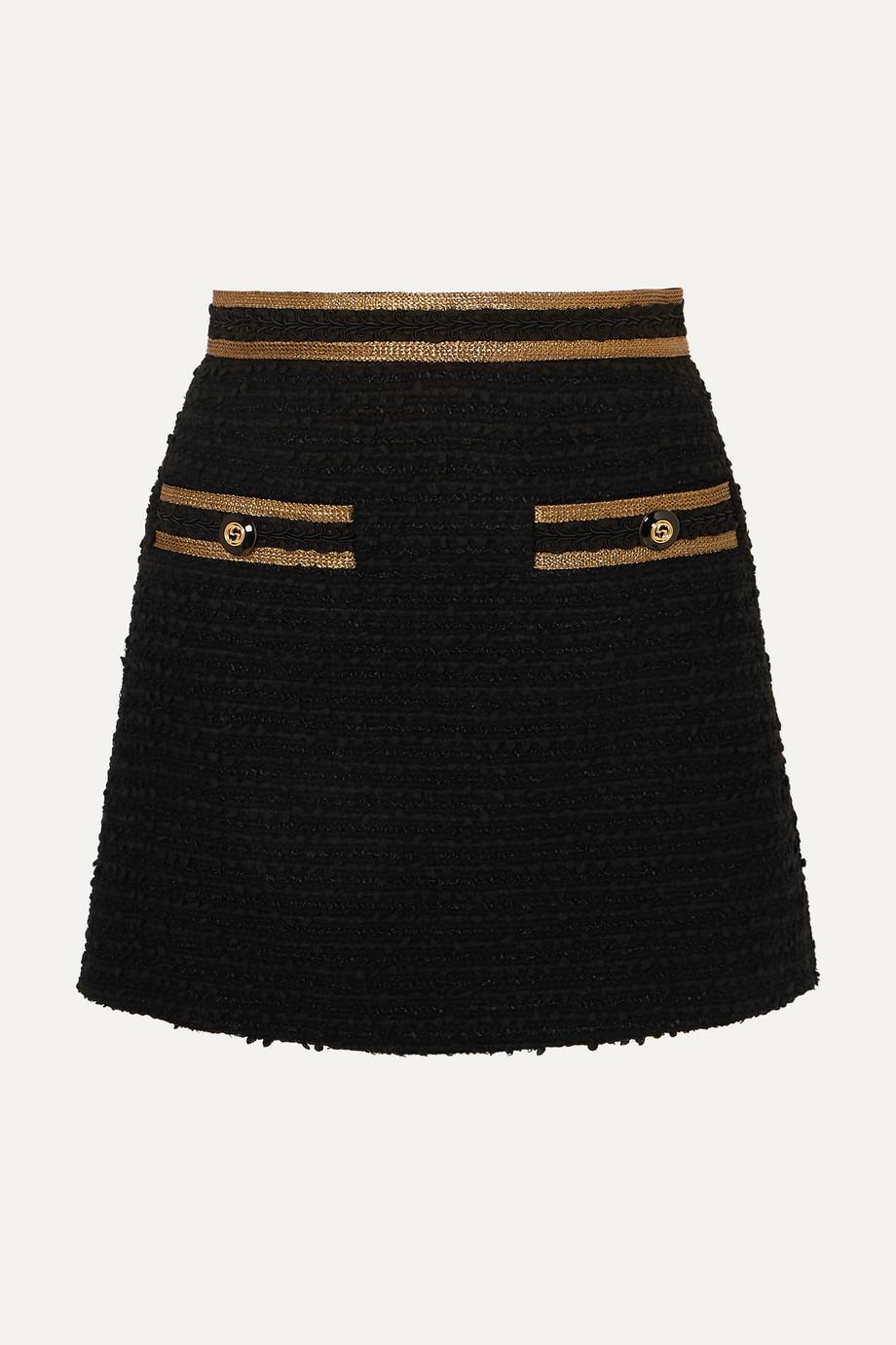 Gucci Metallic-trimmed cotton-blend tweed mini skirt