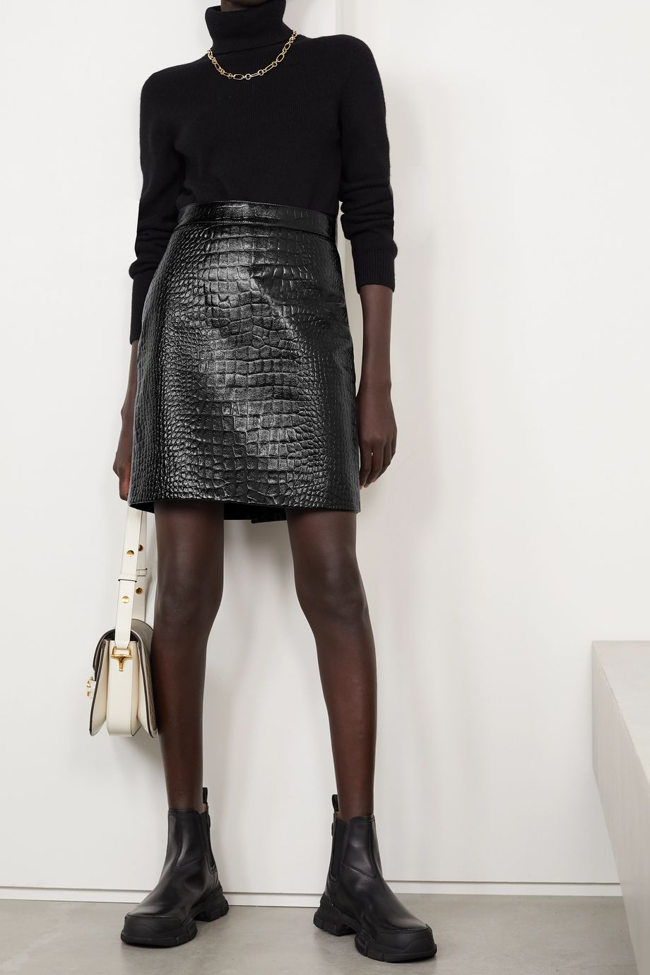 Gucci Croc-effect leather mini skirt