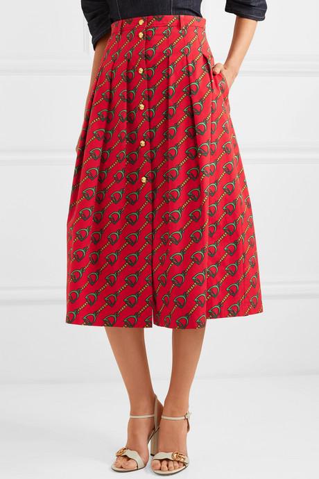 Pleated printed cotton-twill midi skirt