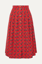 Gucci Pleated printed cotton-twill midi skirt