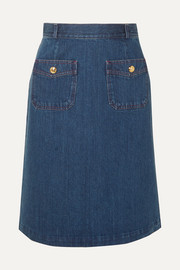 Gucci Button-embellished denim skirt