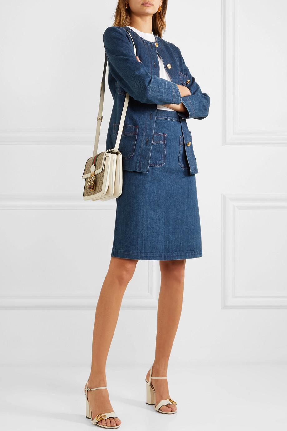 Gucci Button-embellished denim skirt