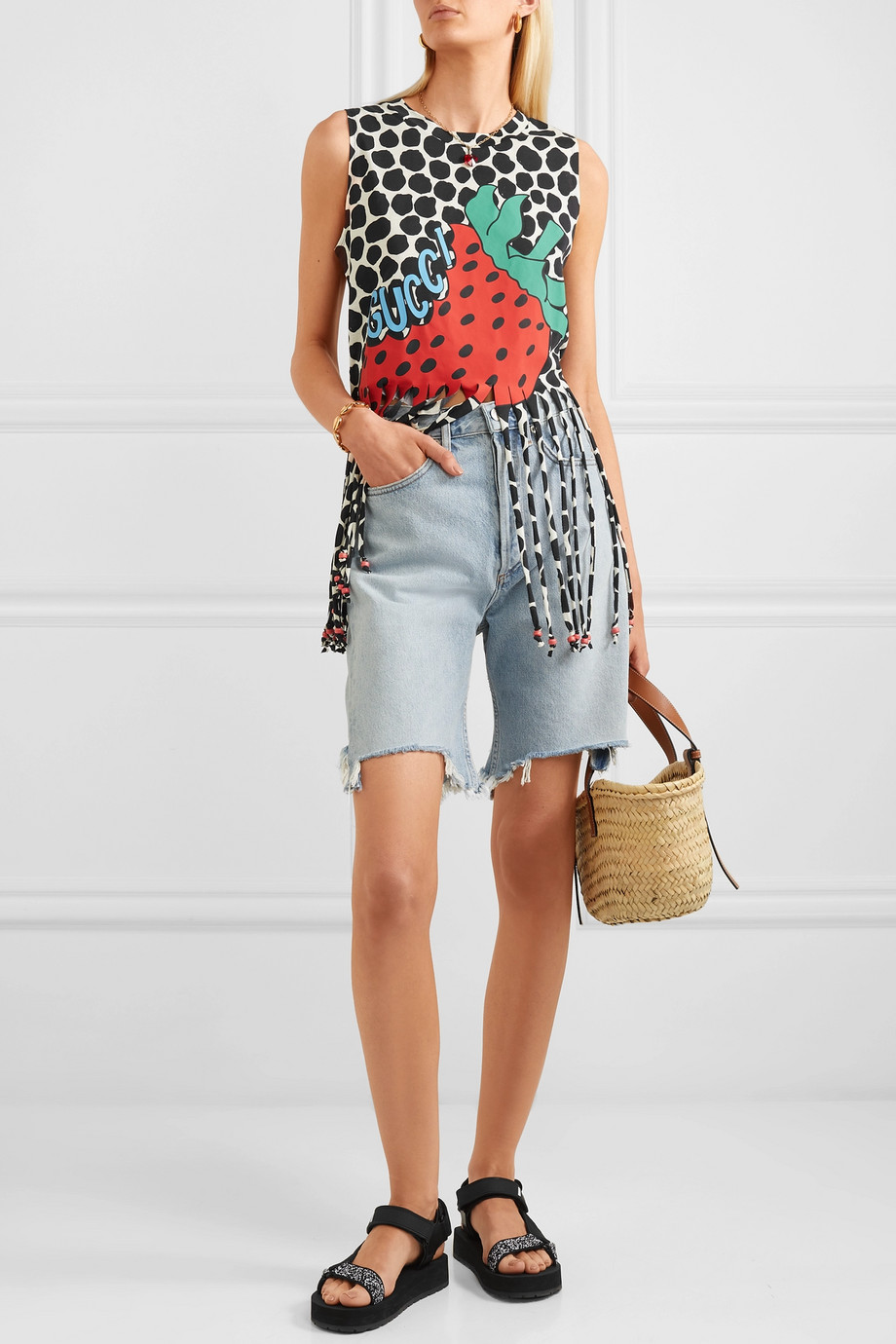 Gucci Fringed printed cotton-jersey top