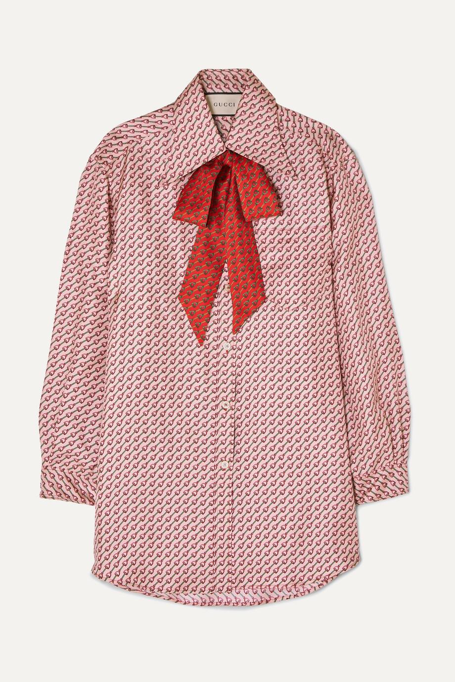 Gucci Pussy-bow printed silk-twill shirt