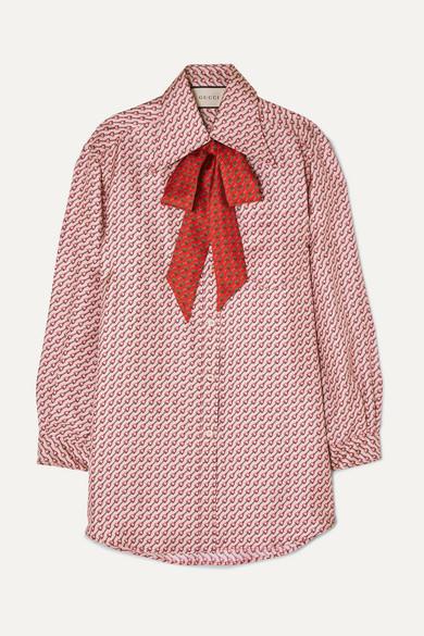 dfc3f99e219 Gucci. Pussy-bow printed silk-twill shirt