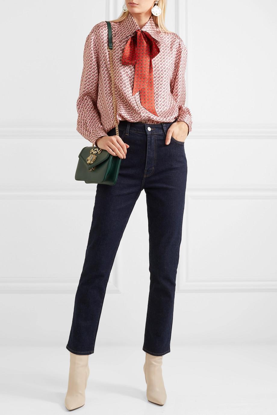 Gucci Hemd aus bedrucktem Seiden-Twill mit Schluppe