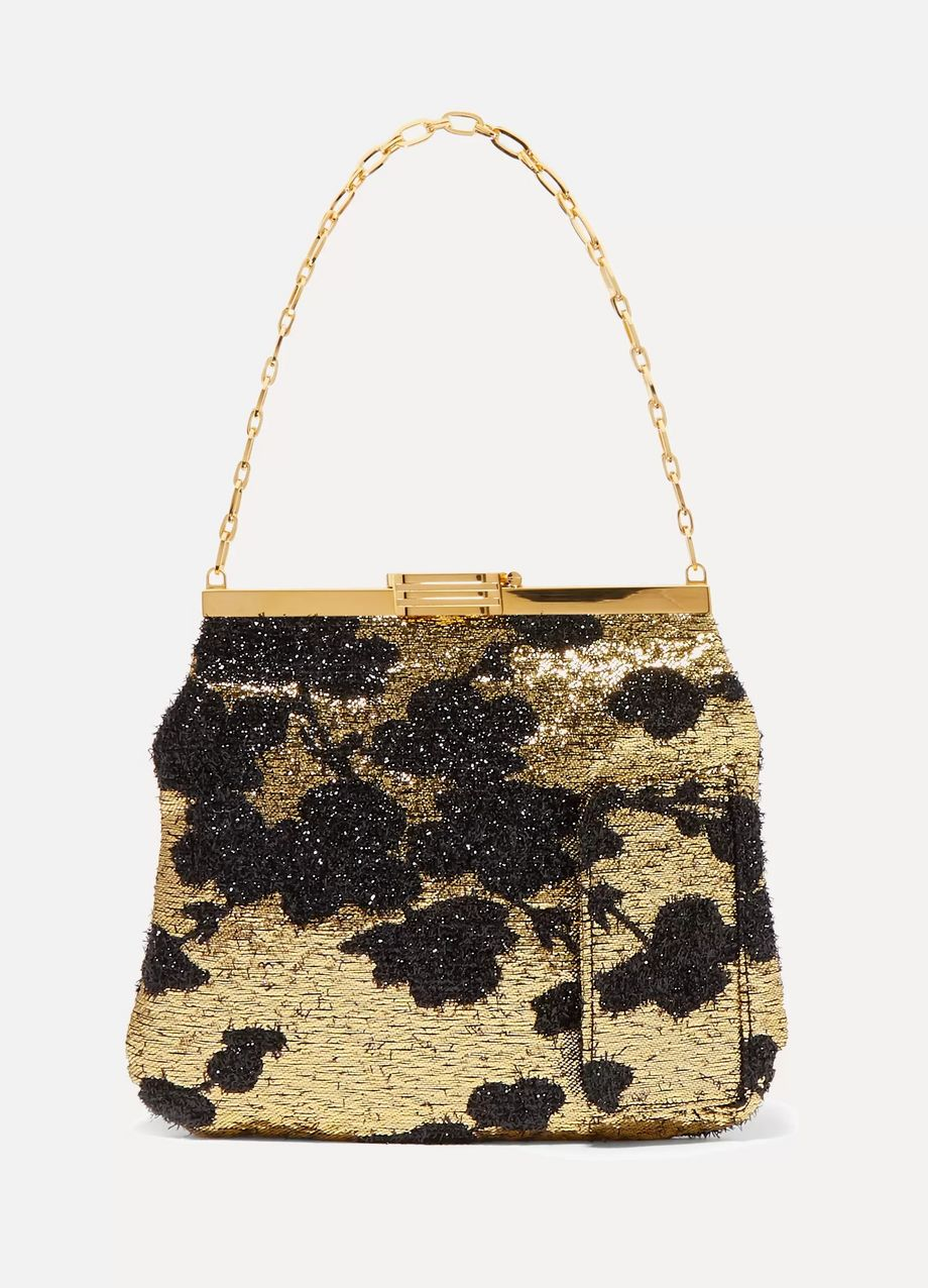 Bienen-Davis 4am metallic floral brocade clutch
