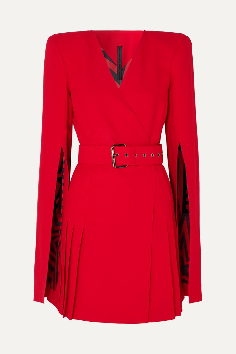Gareth Pugh   Belted crepe wrap-effect mini dress   NET-A-PORTER.COM