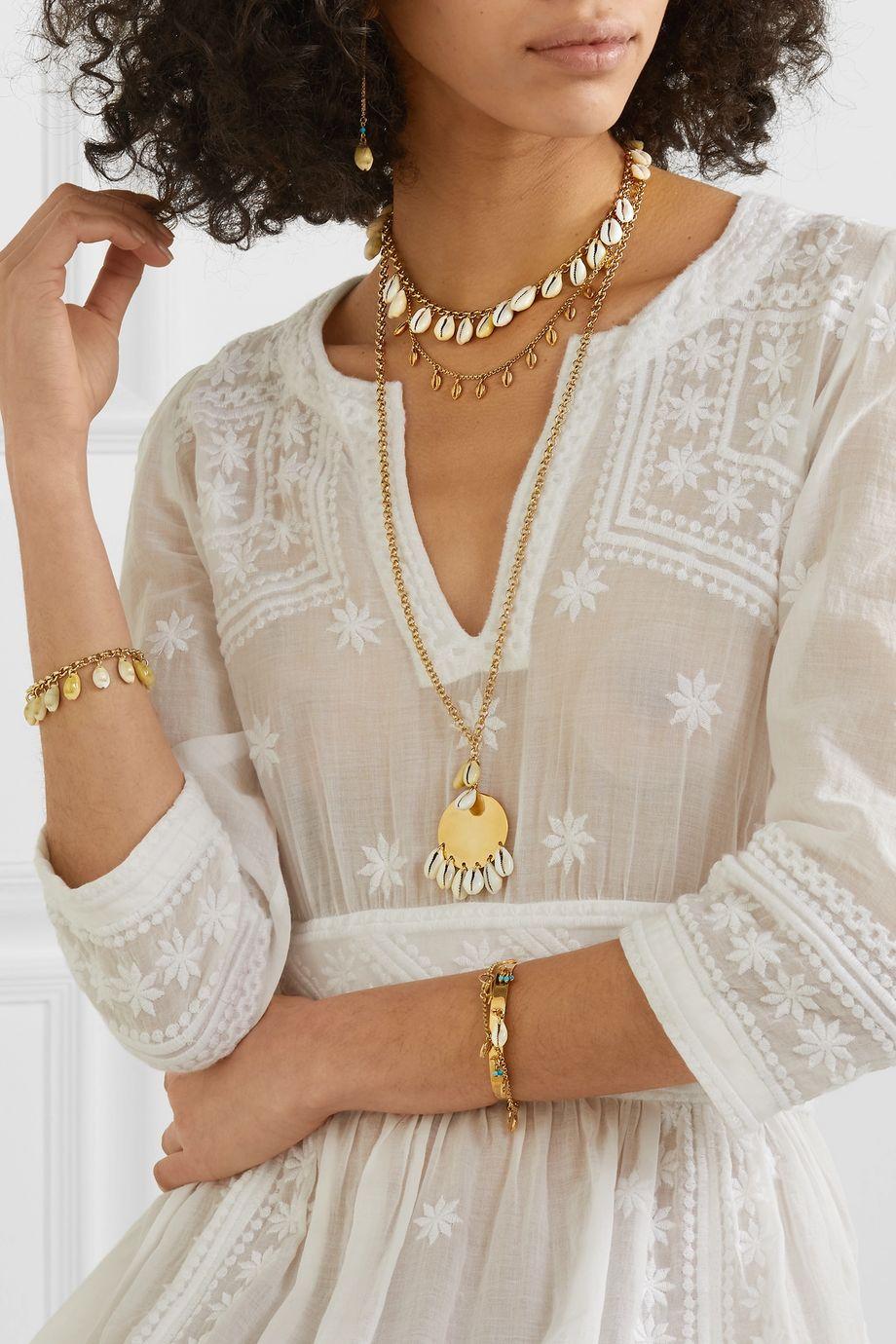 Isabel Marant Gold-tone and shell choker