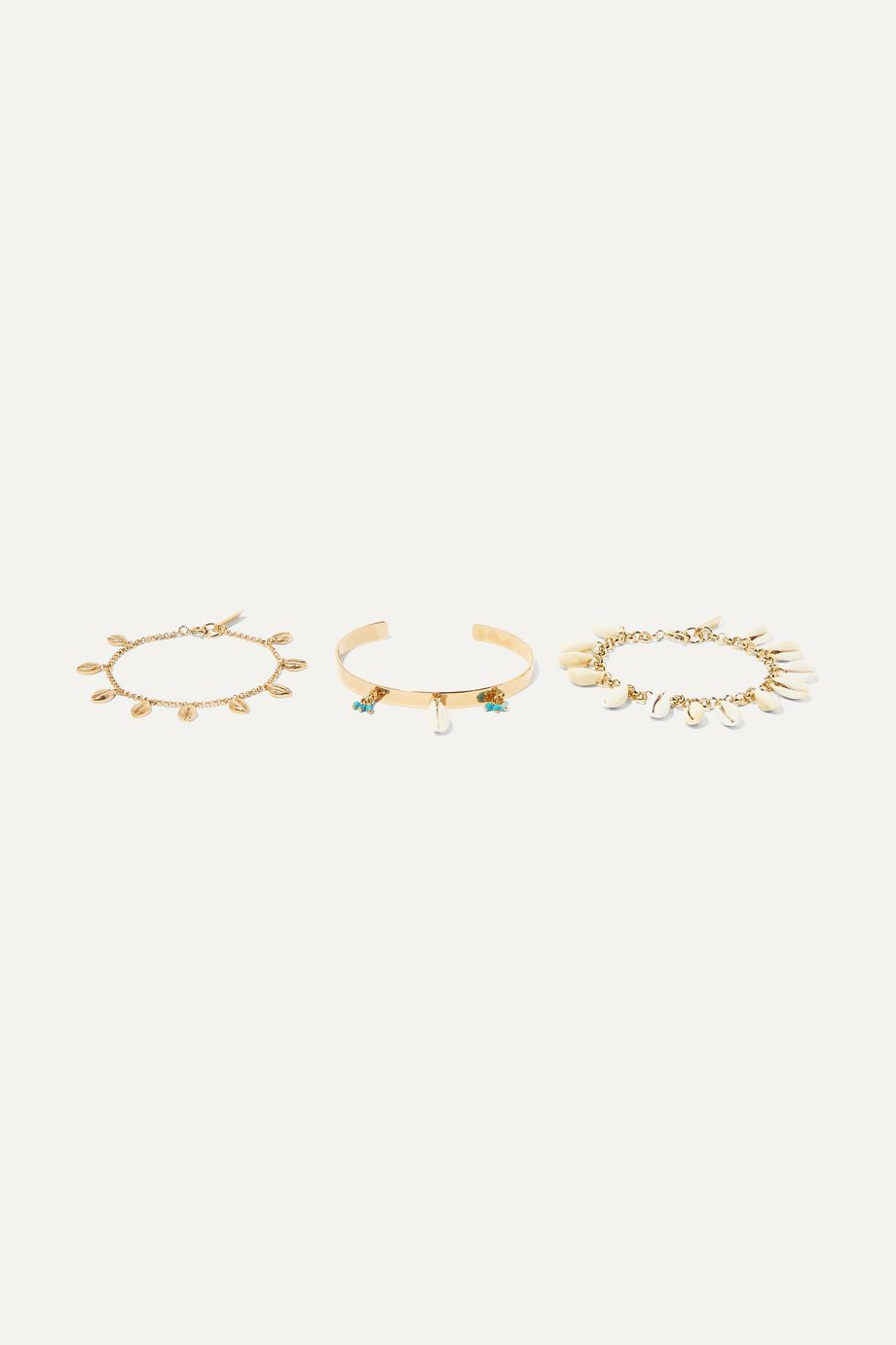 Isabel Marant Set of three gold-tone, shell and bead bracelets