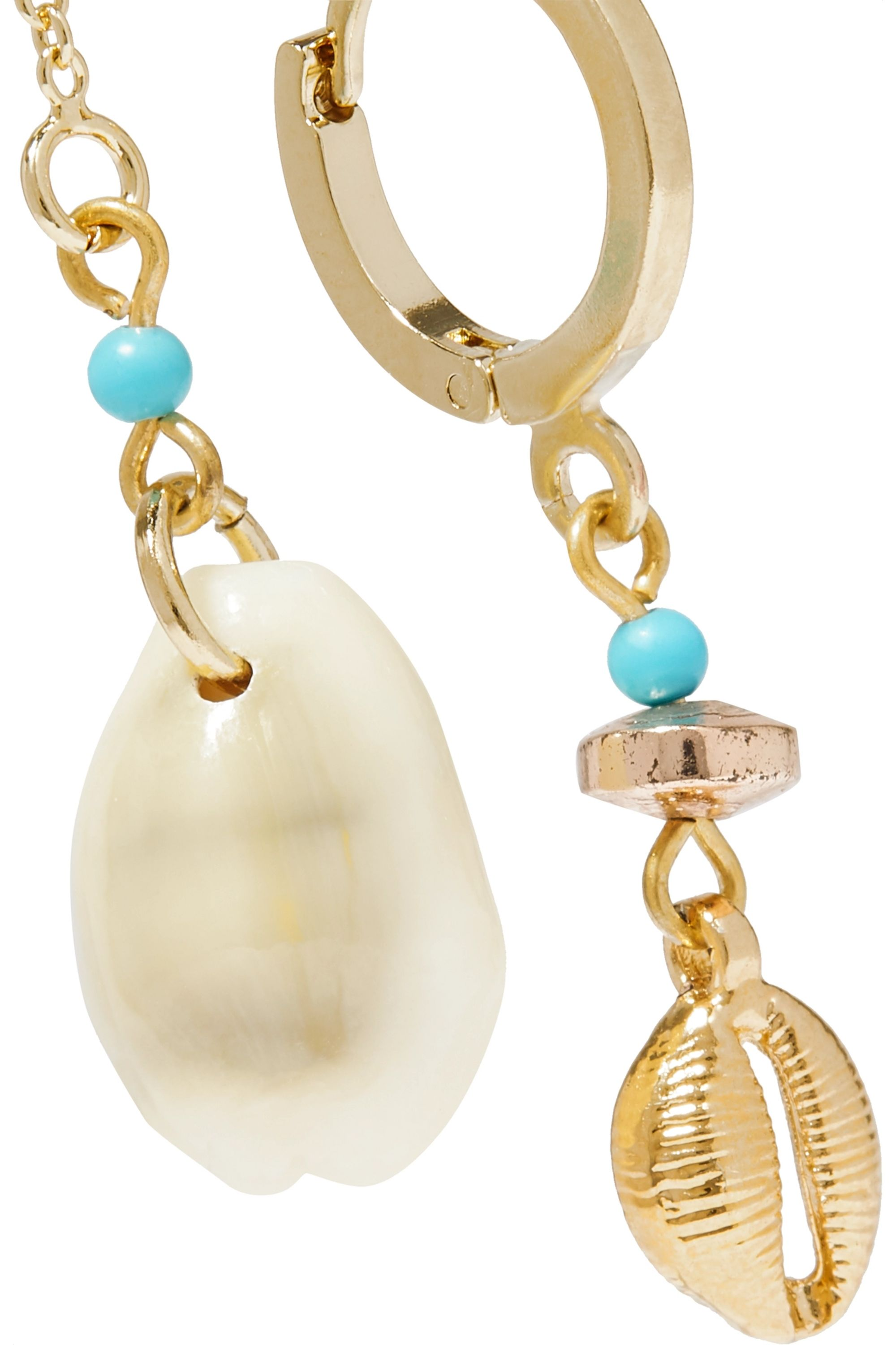 Isabel Marant Gold-tone, shell and bead earrings