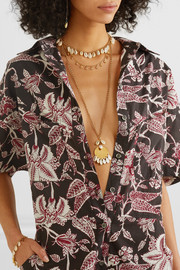Isabel Marant Gold-tone and shell necklace