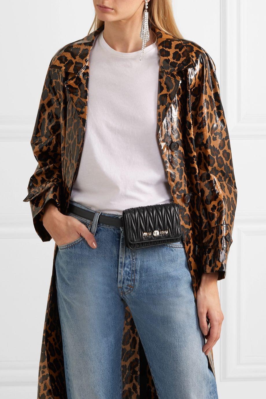 Miu Miu Crystal-embellished matelassé leather belt bag